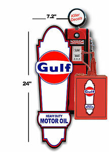 """GAS PUMP GASOLINE VINTAGE 24/"""" X 14/"""" GULF LUBSTER SIDE DECAL OIL CAN TANK"""