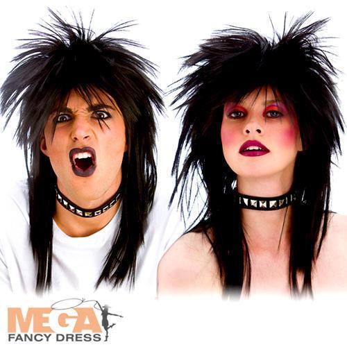 80/'s Rocker Wig Adults Fancy Dress 1980s Punk Rock Mens Ladies Costume Accessory