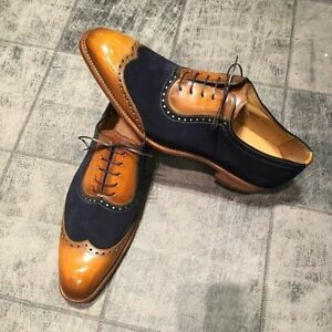 New-Handmade-Men-Classic-Brogue-Style-Wing-Tip-Leather-and-Suede-Dress-Shoes