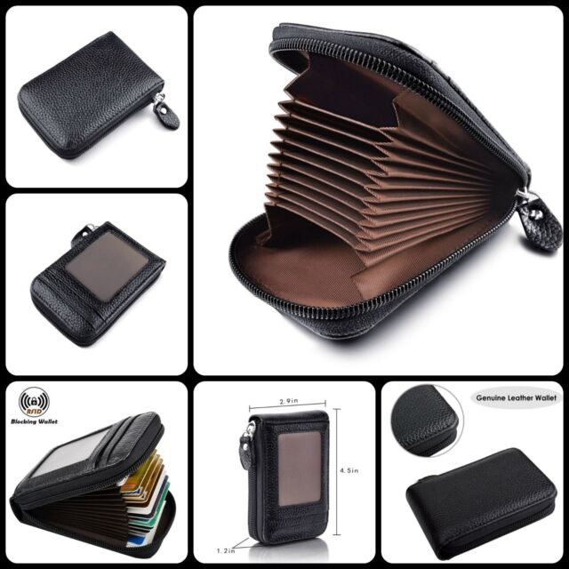 4d1be44a4cd1 RFID Blocking Genuine Leather Zipper Credit Card Holder Compact Wallet  Black New