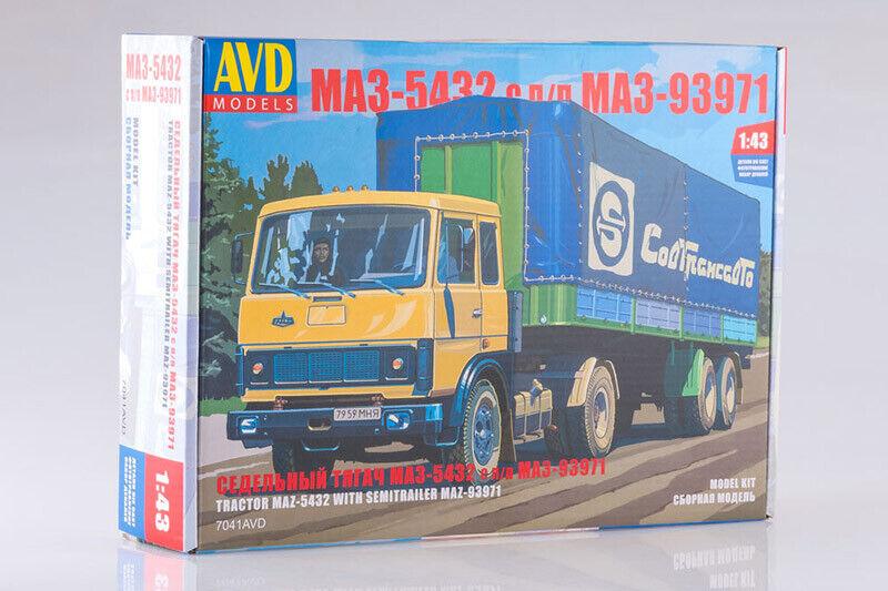 AVD Models 7041AVD 1 43 MAZ-5432 with MAZ-93971 Belorussian Semi-Trailer