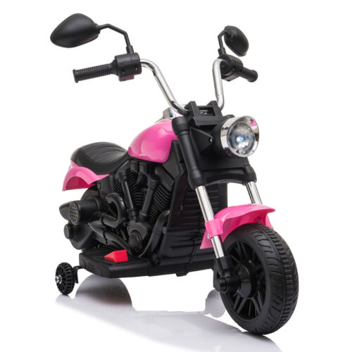 6V Kids Motorcycle Powered Electric Ride On Toy Car w// 2 Training Wheels Pink