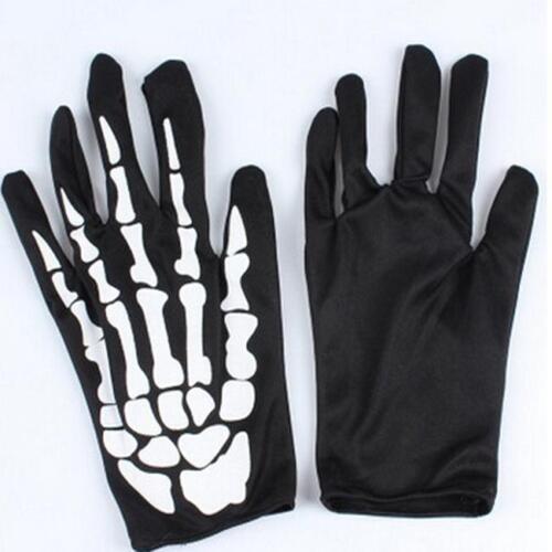 Mens Cycling Bike Motorcycle Skull Bone Skeleton Goth Racing Full Finger Gloves