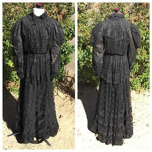 Edwardian-3-Pc-Dress-Black-Lace-Beads-Boned-Shirtwaist-Bodice-Skirt-Top-Antique