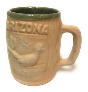 Arizona-Roadrunner-Coffee-Mug-Saguaro-Cactus-Tan-Glazed-Green-Southwest-Souvenir