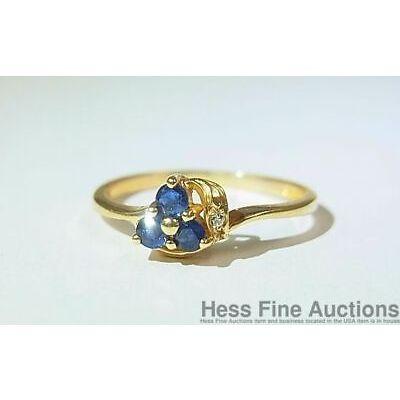 14K Gold Natural Sapphire Genuine Diamond NEW 3 Stone Size 6.5 Ring