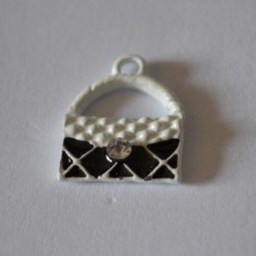 Handbag Charms Black White Enamel Rhinestone x 10 Crafts DIY Wine Charm Making