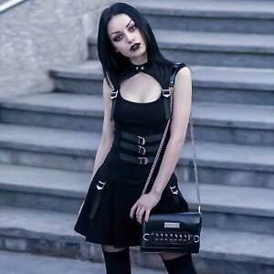 KILLSTAR-Amplified-Skater-Dress-Gothic-Kleid-Mini-Schwarz-Cut-Out-Netz-Schnallen