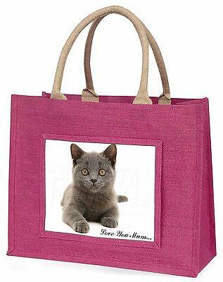 Britische Blue Cat 'Liebe, die Sie Mama' Große Rosa Einkaufstasche Weihnachten,