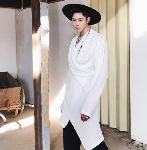 Men/'s Gothic Long Sleeve Asymmetric V Neck Punk Rock Singer Casual T-shirt Tops