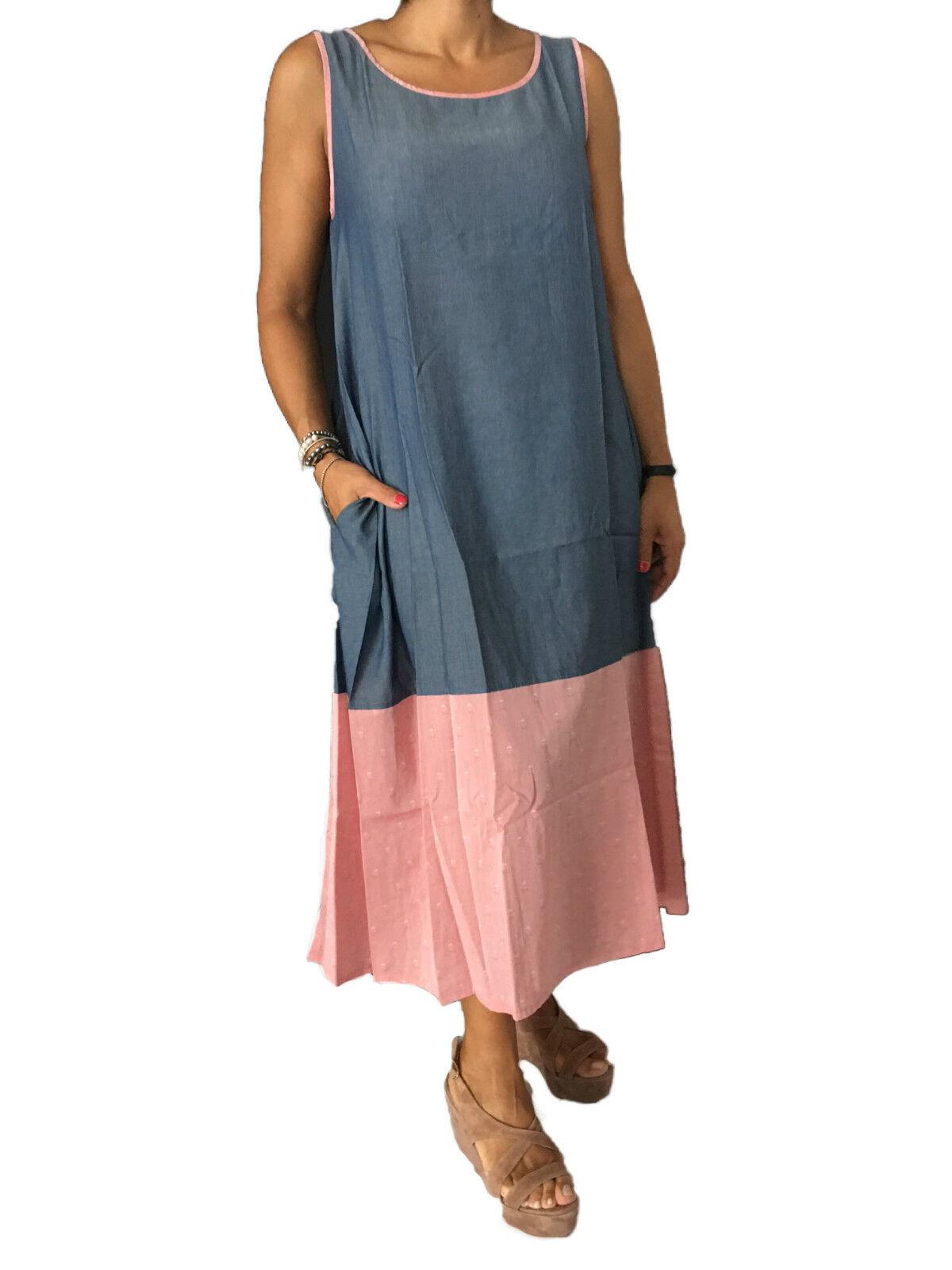 Buongiorno By Aldo Guglielminotti Kleid Frau mit Taschen Gestreift Denim Licht