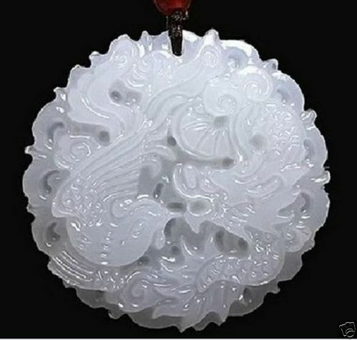 dragon Phoenix Natural natural hand-carved Chinese jade pendant