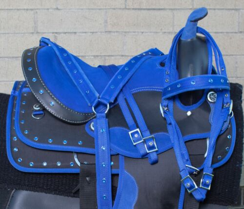 """Details about  /Used 15"""" Blue Western Trail Show Horse Saddle Tack Set Light Weight Synthetic"""