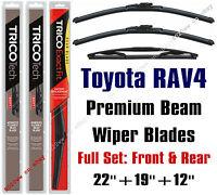Toyota Rav4 2001-2005 Wiper Blades 3pk Premium Beam Front/rear 19220/19190/12a