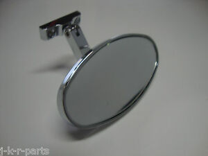 chrome rear view mirror oval bolt on universal chevy ford. Black Bedroom Furniture Sets. Home Design Ideas