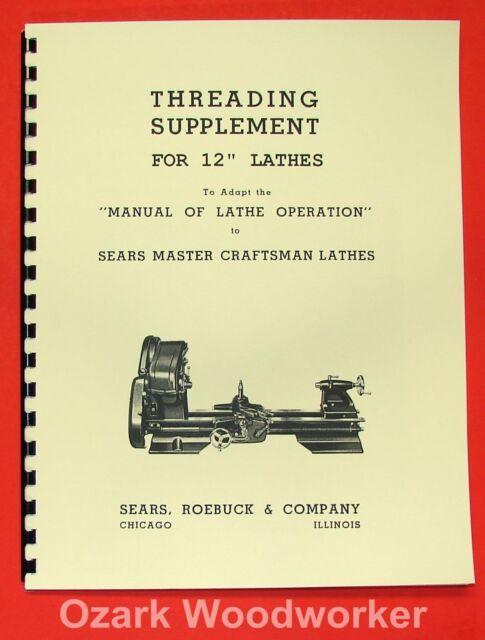"ATLAS//CRAFTSMAN 6/"" Metal Lathe Threading Operations Manual 0052"