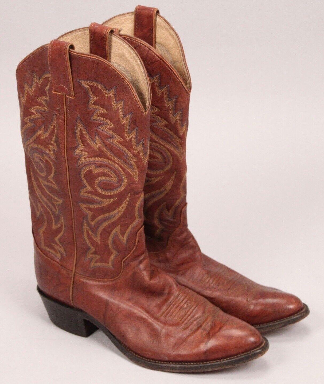 JUSTIN Vintage en Cuir marron Cowboy Western bottes Homme 9.5 D style 1560 USA