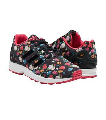 buy online a9f43 c86ad Adidas Black Colorful Floral Roses Pink Accents ZX Flux Torsion Shoes Wms  NEW | eBay