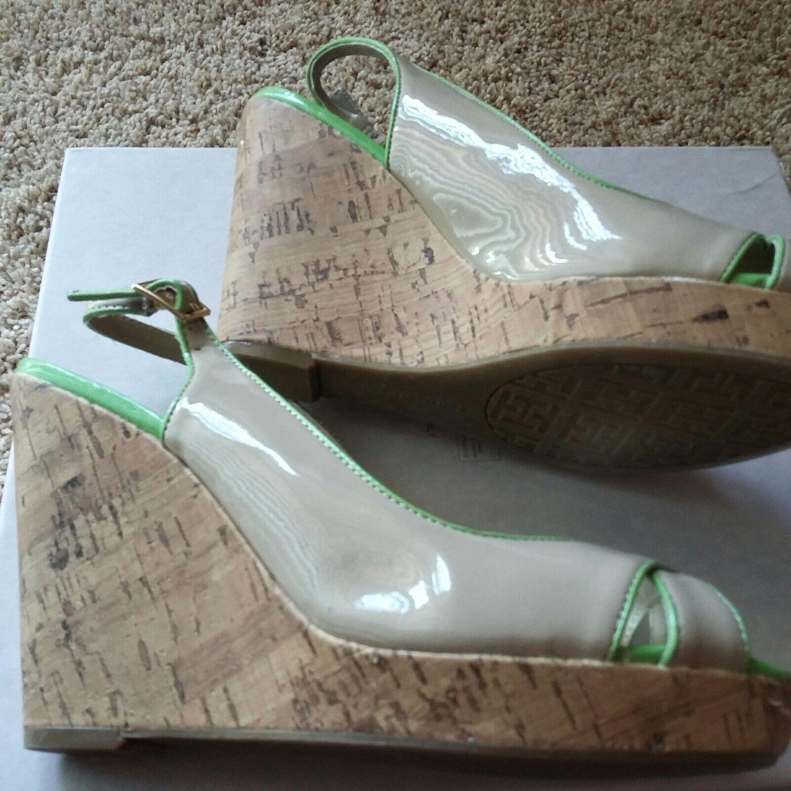 Tommy Hilfiger Nude & Lime Trim Wedges Size 9M - image 7