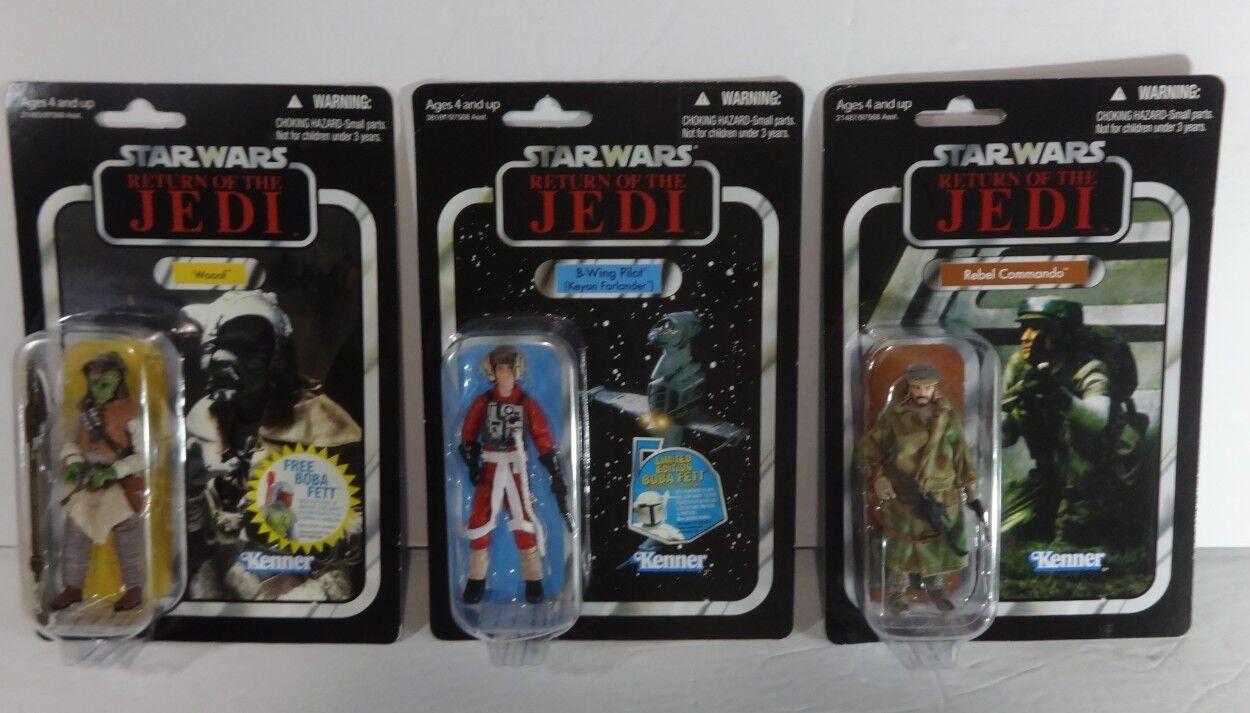 Star - wars - vintage - kollektion bt b - pilot rebellen commando wooof rotj jedi - menge