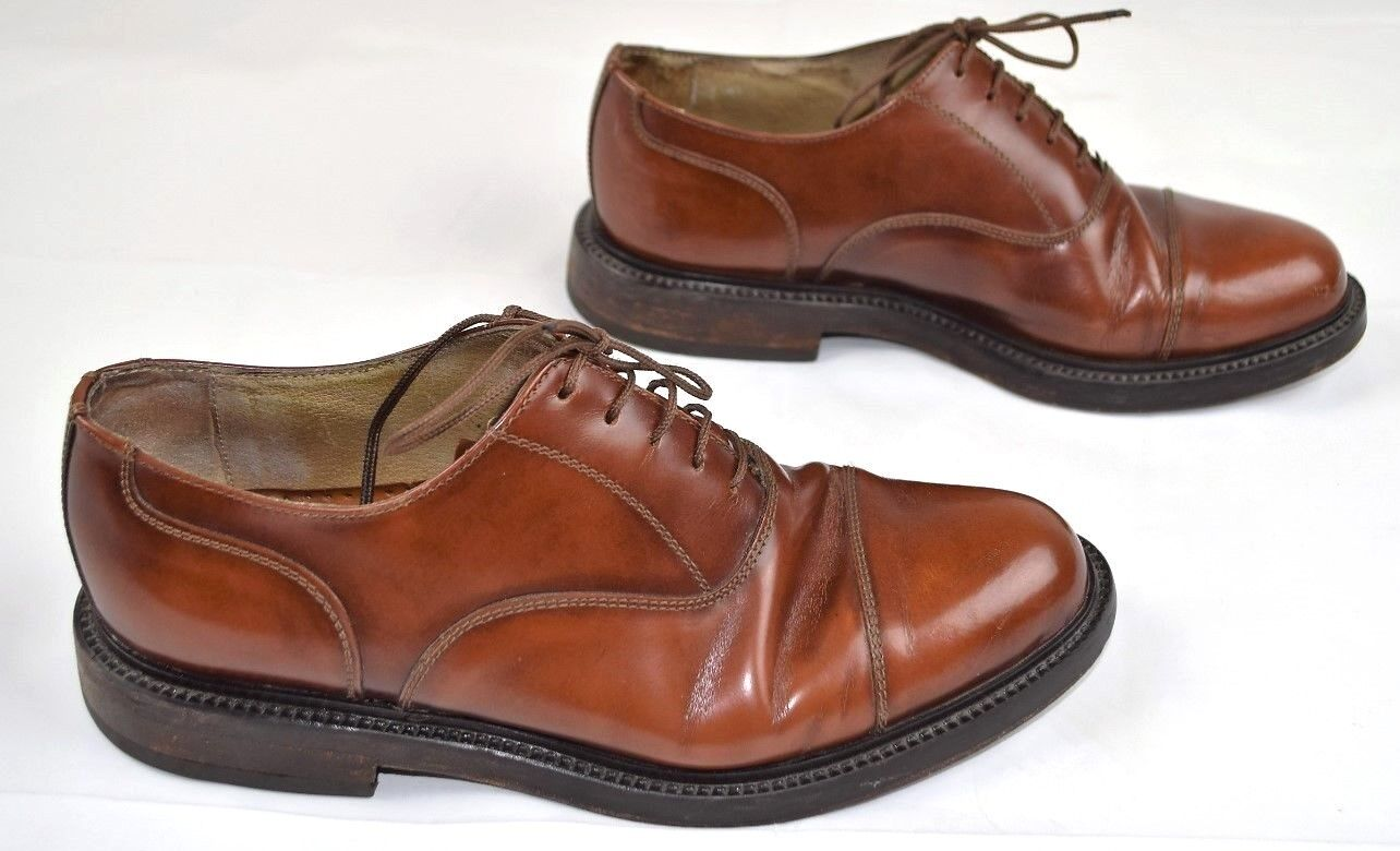 Antica Cuoieria Brown Leather Oxfords Cap Toe Lace Up Shoes Mens 8.5  Italy