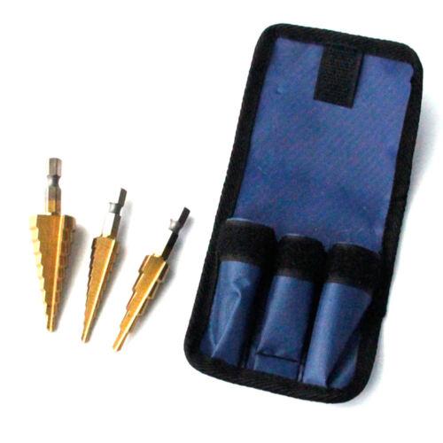 3 x Titan Stufenbohrer Konus Kegelbohrer Aufstecker Lochschneider 4-12//20 3-12mm