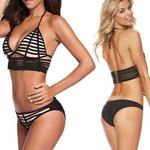 6e81f4adede39 Image is loading 2pc-Black-Beige-Geometric-Strap-Bralette-Swimsuit-Bikini-