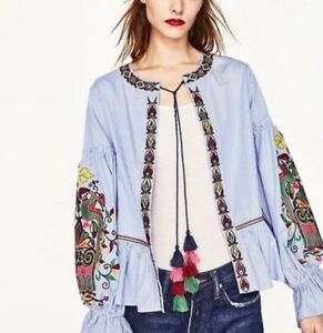 New-Women-Ladies-Blue-Stripe-Long-Floral-Embroidery-Sleeve-Open-Front-Top-Blouse