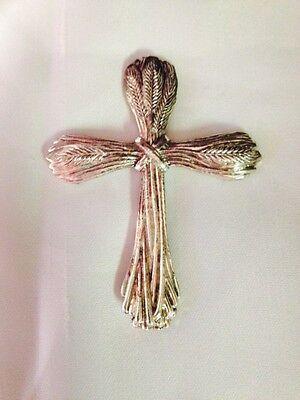 Arthur Court 1980's Aluminum Pocket Cross, Wheat theme
