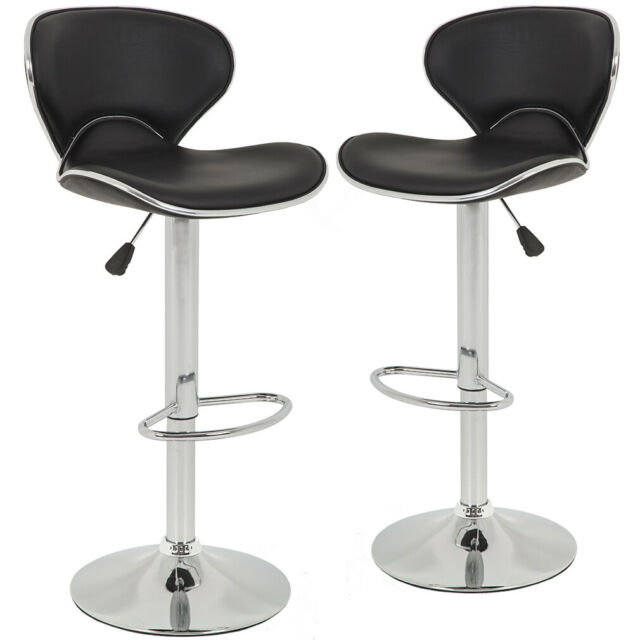 SET of 2 Bar Stools Black PU Leather Modern Hydraulic Swivel Dinning Chair B99