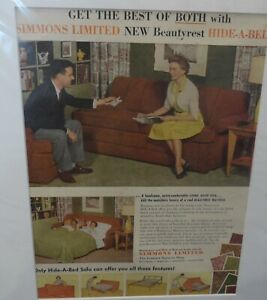 Brilliant Details About Original C1950S Vintage Matted Advert Simmons Limited Hide A Bed Sofa Bed Machost Co Dining Chair Design Ideas Machostcouk