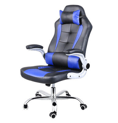 Details about  Extra Wide Deluxe Gaming Chair Office Computer Seating Racing Pu Leather Blue
