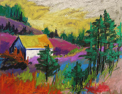 HOUSE  LANDSCAPE Original  Pastel Painting JMW art John Williams Impressionism