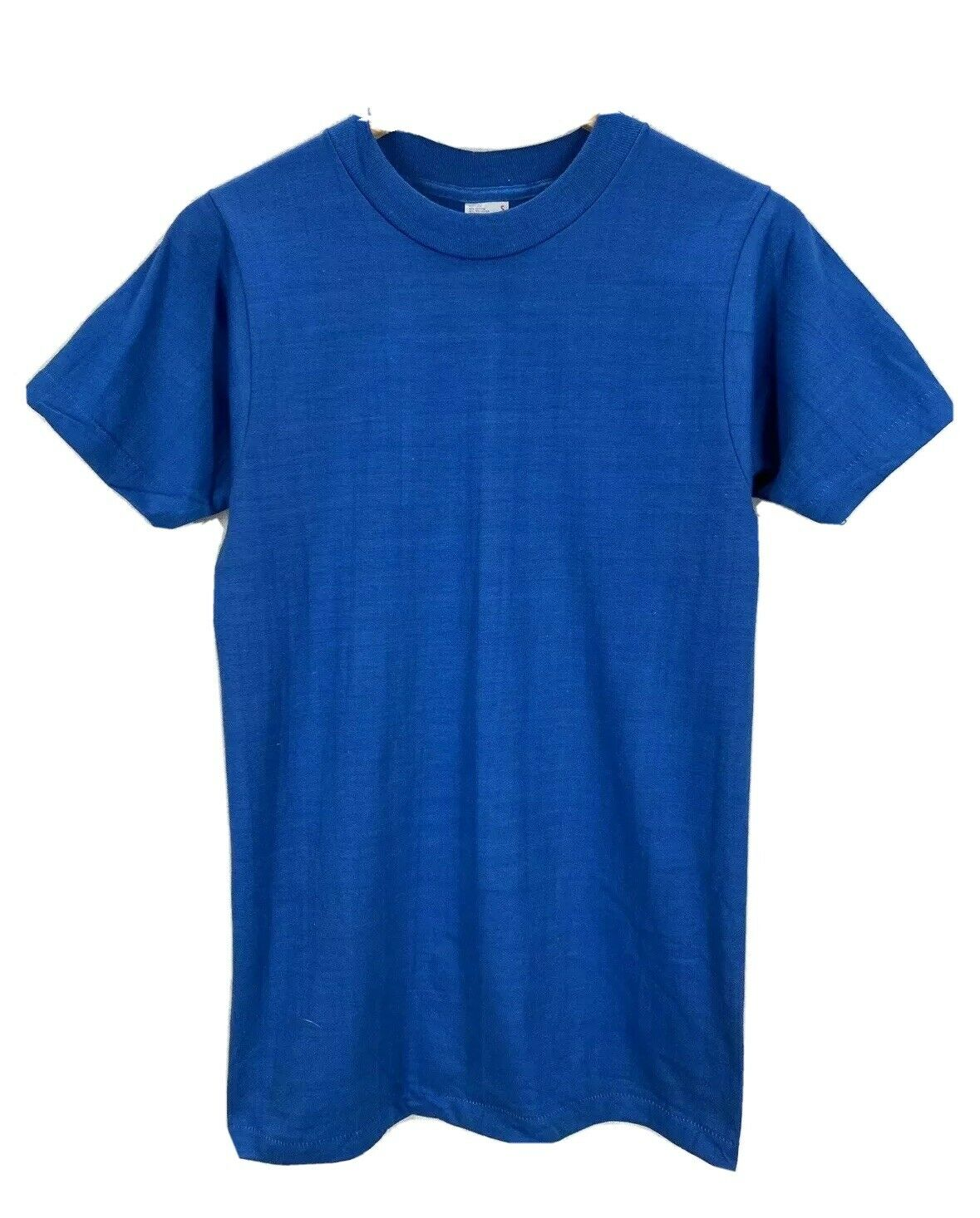 NOS Vintage 80's Blank Blue 50/50 Fruit of the Loom Single Stitch T-Shirt Small