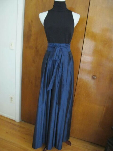 Lauren Ralph Lauren Blue Black 12 Tafetta Belted Ball Gown Dress
