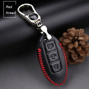 For-Nissan-Series-3-button-car-smart-remote-key-case-holder-cover-fob-Red-thread