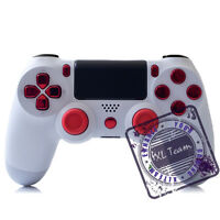 Sony Dualshock 4 Wireless Controller White - Custom For Ps4 Chrome Red Buttons