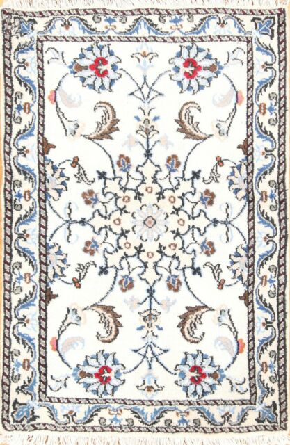 One-of-a-Kind Traditional IVORY Floral Nain Hand-Knotted 2'x3' Oriental Area Rug