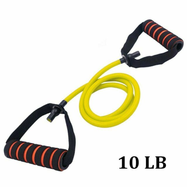 Single Resistance Tube Band Foam Handles Door Anchor Exercise Training Yellow
