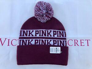 e9f79ec877e Victoria s Secret PINK Logo Burgundy Pom Pom Beanie Winter Hat - New ...