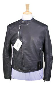 NWT-New-EMPORIO-ARMANI-Black-Leather-Slim-Fit-Biker-Moto-Jacket-40-Medium