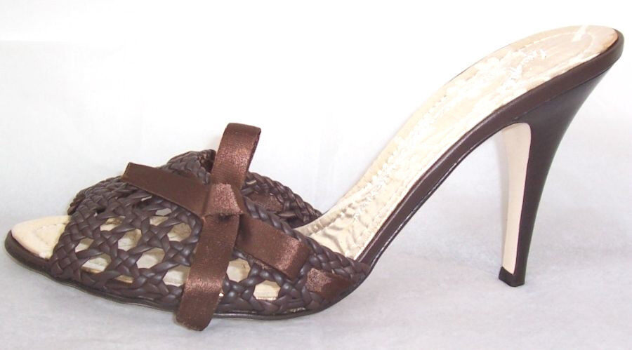 GIUSEPPE ZANOTTI Brown Leather Woven Bow Slides Sandals Shoes 10