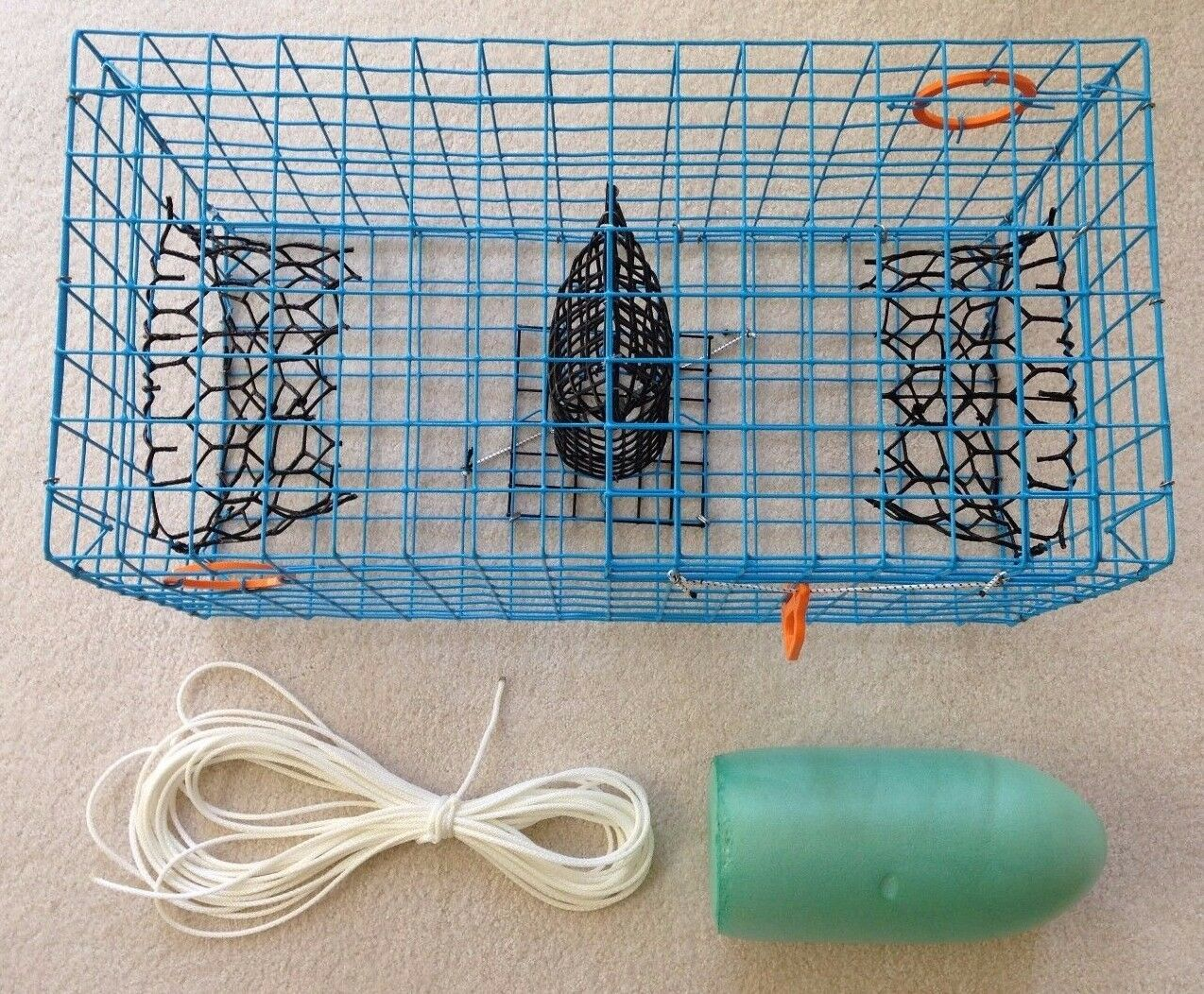 PVC bluee Commercial Grade Crab Pot   Trap With 50 Foot Line & GREEN 5x11 Float