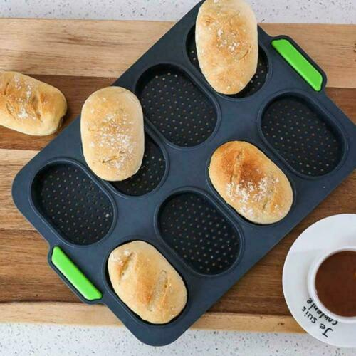 8 Grids Loaf Baking Home Non Stick French Hamburger Bread Tray Mold Y5R5
