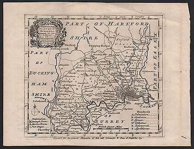 1757 County Map Emanuel Bowen - Middlesex