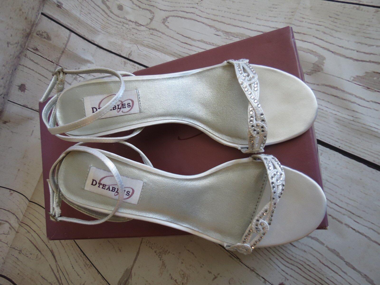 Dyable White Satin Women's Bridal Shoes Amber Size 7B