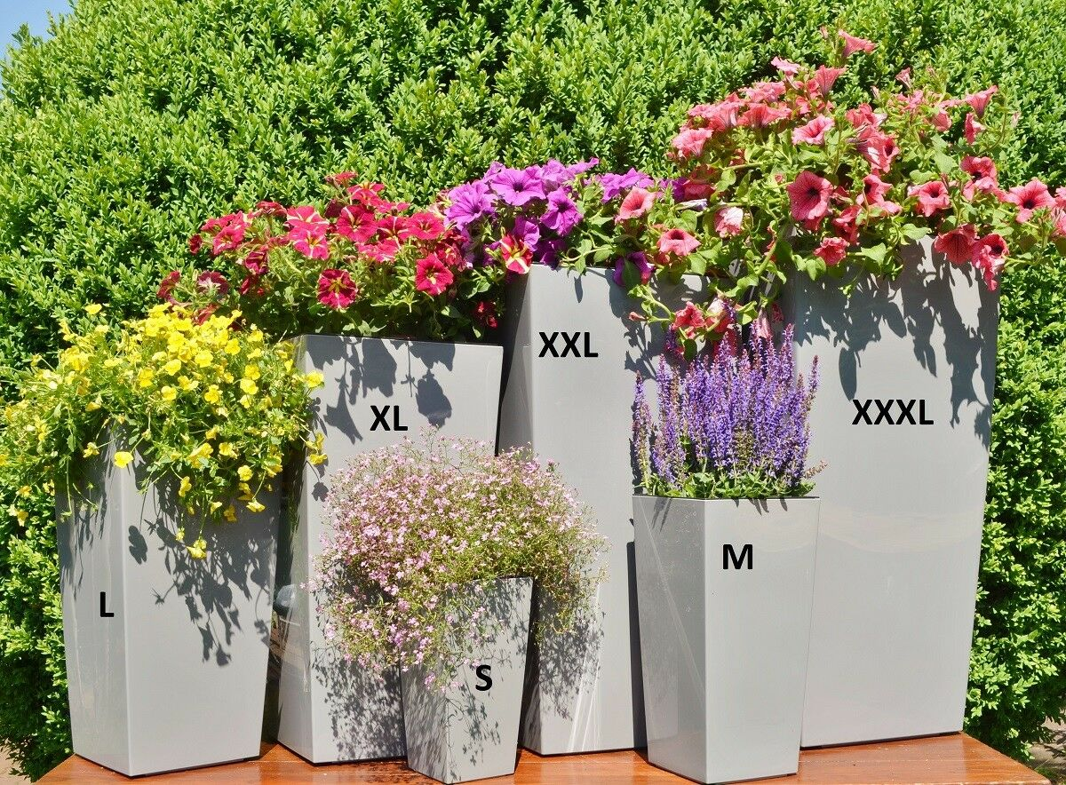 Pot de fleurs Set 4 Couleurs 6 Tailles Top Rectangulaire brillant bac à fleurs pflanzeinsatz Top Tailles 28904f