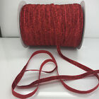 "New 5 yards 3/8""10mm red Sparkle Glitter Velvet Ribbon Headband Craft supplies"