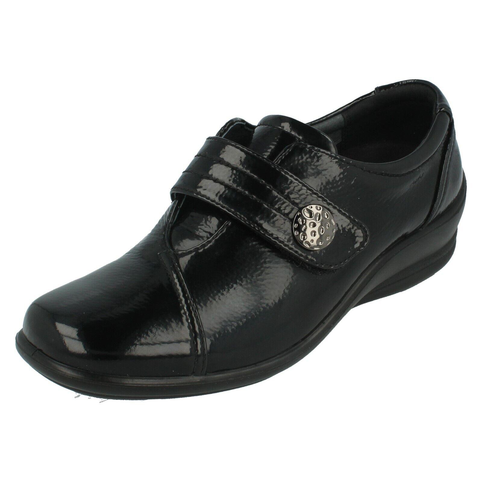 Ladies Padders Black Patent Hook & Loop Strap Flat shoes SIMONE E EE Fit