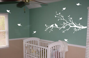 White Tree Branch With 10 Birds Nursery
